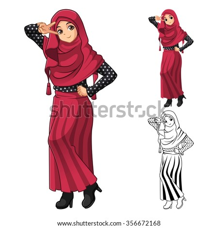 Muslim Girl Fashion Wearing Red Veil or Scarf with Polka Dots and Skirt Outfit Include Flat Design and Outlined Version Cartoon Character Vector Illustration - stock vector