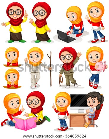 Muslim girl in different actions illustration - stock vector