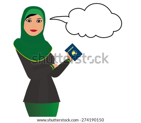 Muslim girl with message bubble and passport - stock vector