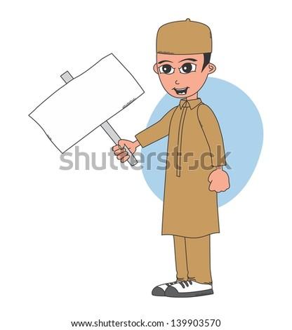 muslim guy blank board - stock vector