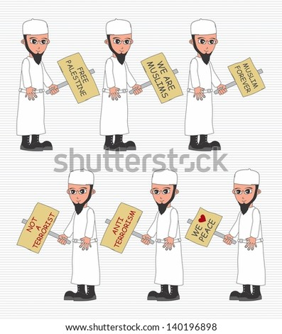 muslim guy protest with board - stock vector