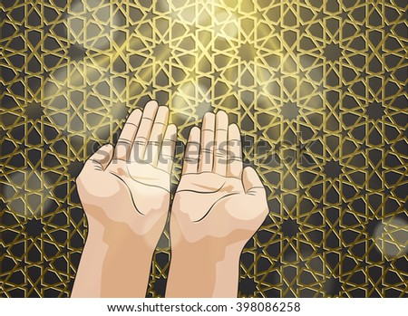 Muslim hands in pose of praying on gold islamic pattern background - stock vector