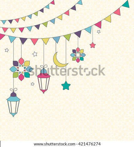 Muslim Holiday Ramadan Kareem Generous Month Flat Card with Buntings and Lanterns on Beige Background