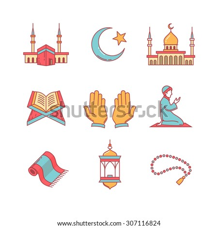Muslim islam prayer and ramadan kareem thin line icons set. Modern flat style symbols isolated on white for infographics or web use. - stock vector