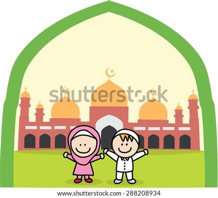 Muslim kids - stock vector