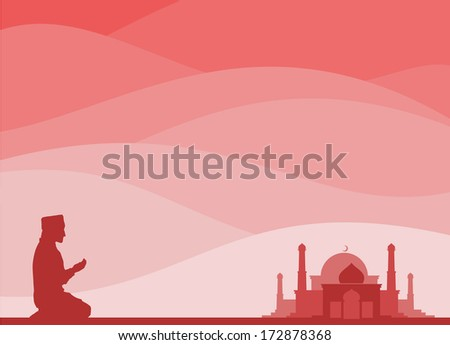 muslim kneeling for a pray, with a mosque background - stock vector