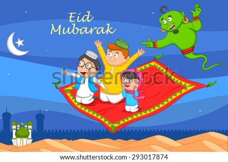 Muslim man flying on magic carpet wishing Eid mubarak, Happy Eid in vector - stock vector