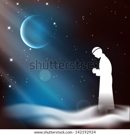 Muslim man in traditional outfits praying (reading Namaz, Islamic Prayer) on shiny moon and stars night background. - stock vector