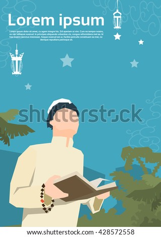 Muslim Man Pray Open Koran Ramadan Kareem Religion Holy Month Vector Illustration - stock vector