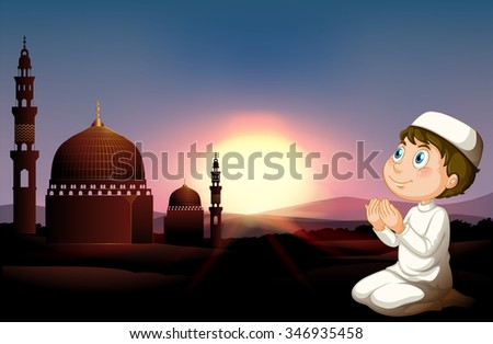 Muslim man praying at the mosque illustration - stock vector