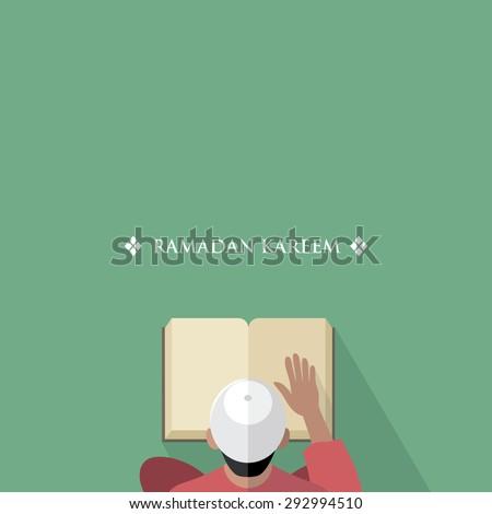 Muslim man reading the Quran book - vector illustration - stock vector