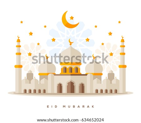 Muslim mosque isolated on white background. Traditional arabesque ornament, crescent and stars. Vector Illustration. Eid Mubarak greetings. Ramadan Kareem. Flat style Sheikh Zayed Grand Mosque