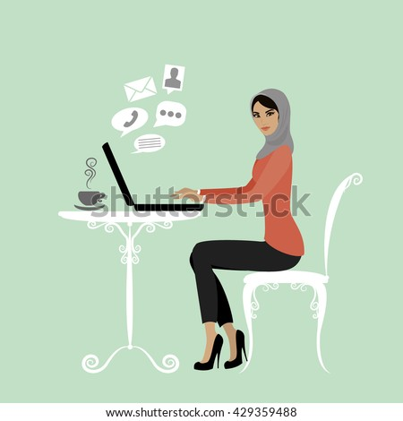 Muslim Office worker or arabic business woman. Working On laptop Computer.Icons of different applications.Cartoon vector illustration