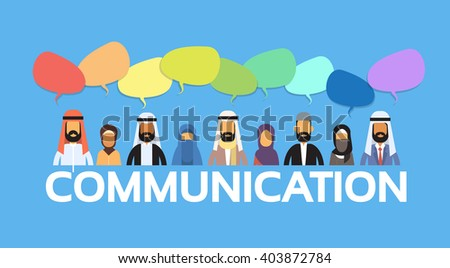 Muslim People Arab Crowd Man and Woman Talking Discussing Chat Bubble Communication Social Network Arabic Characters Flat Vector Illustration - stock vector