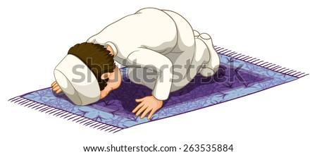 Muslim praying on the carpet - stock vector