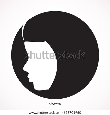 muslim Woman  a circle stylized vector symbol. Icon Isolated on White Background. Flat style.