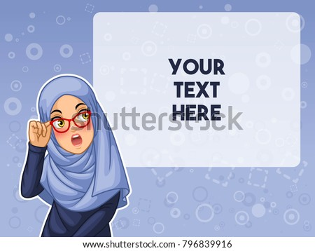 Muslim woman wearing hijab veil shocked with holding her glasses cartoon character design, against blue background, vector illustration.
