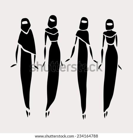 Muslim women. Beautiful silhouette. Fashion girls. Vector illustration. - stock vector