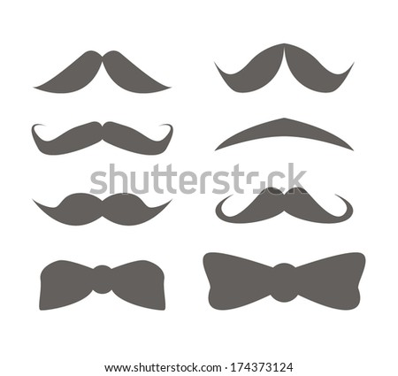 Mustache and bow tie icon set