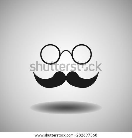 mustache and glasses icon, vector illustration. Flat design style.. - stock vector