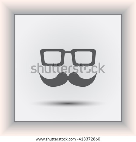 mustache and glasses icon, vector illustration. Flat design style. - stock vector