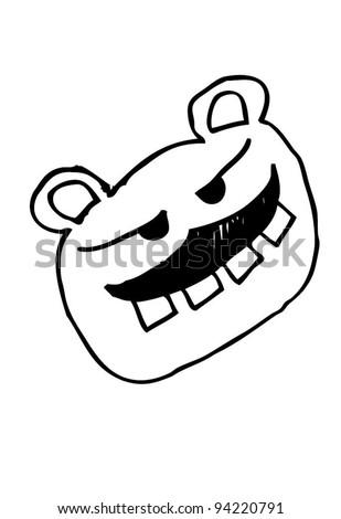 mustache bear doodle - stock vector