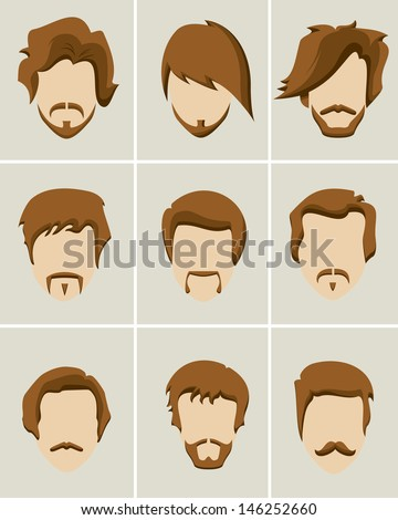 Mustache, beard and hair style icon set - stock vector