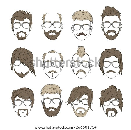 mustache, beard and hairstyle hipster  - stock vector