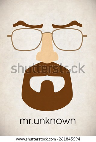 Mustache glasses eyebrows - stock vector