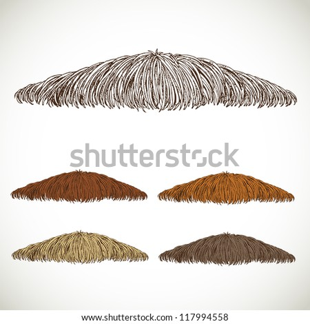 Mustache groomed in several colors set 1. easily editable detailed graphic design - stock vector