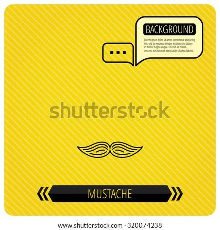 Mustache icon. Hipster symbol. Gentleman sign. Chat speech bubbles. Orange line background. Vector - stock vector