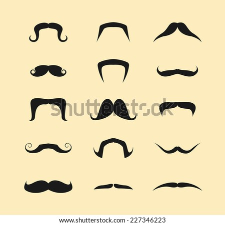 Mustache icons isolated set