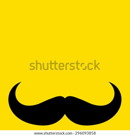 Mustache on yellow background - stock vector