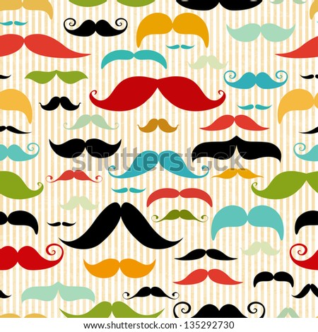 Mustache seamless pattern in vintage style - stock vector