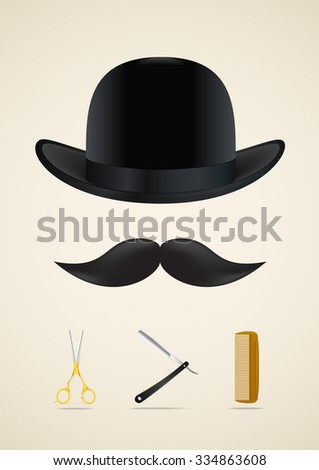 Mustache style icons set. Vector illustration - stock vector