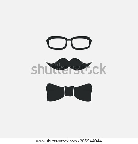 Mustache, sunglasses and a butterfly, illustration, isolated - stock vector