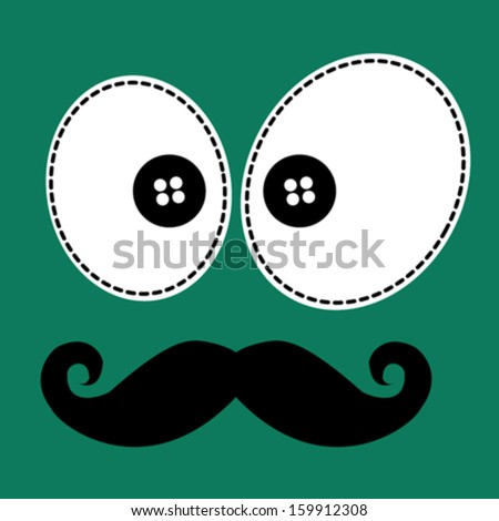 Mustache/T-shirt graphics/cute cartoon characters/cute graphics for kids/Book illustrations/textile graphic/graphic designs for kindergarten/cartoon character design/fashion graphic/cute wallpaper - stock vector