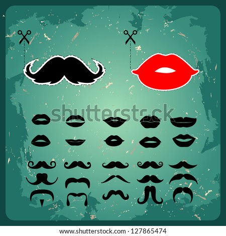 Mustaches and lips shape props on a stick for a wedding - stock vector