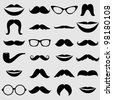 Mustaches and other Accessories Vector Set - stock photo