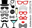 mustaches, lips, eyeglasses silhouettes and design elements for party props isolated on white background - stock vector