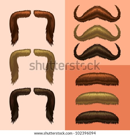 mustaches-part 2 - stock vector