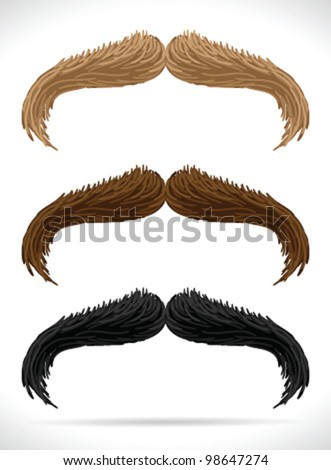 Mustaches set (3 colors)2 - vector illustration Shadow and background are on separate layers. Easy editing. - stock vector