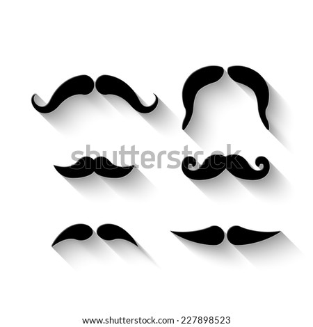 mustaches set - vector illustration with shadow