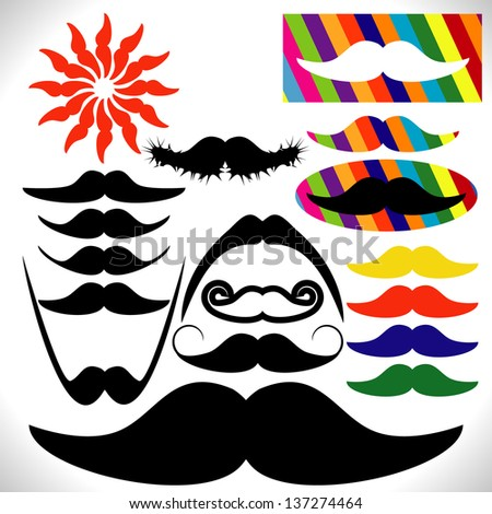 Mustaches. Vector. - stock vector