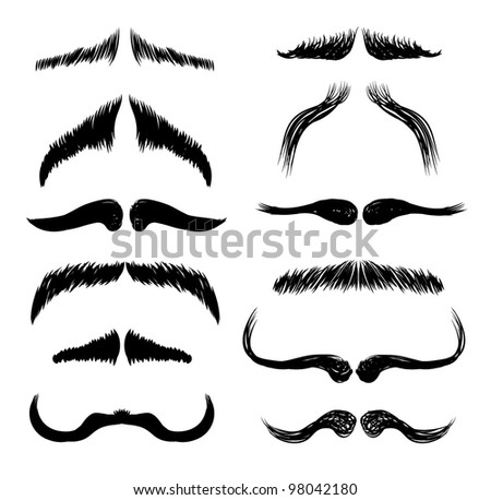 Mustaches vector set