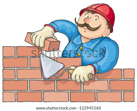 Mustachioed bricklayer builds a red brick wall. Vector cartoon - stock vector