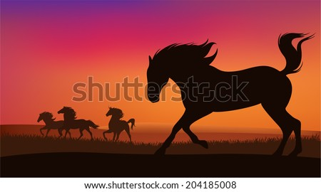 mustang horse herd running at sunset - silhouettes of speeding animals against bright sky - stock vector
