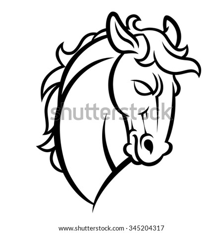 Mustang stallion horse head vector illustration - graphic mascot image isolated on transparent background