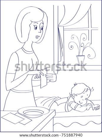 Mustard Leaf With Towel And Water Is Ready For Use Mother Illness Baby Lying On