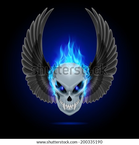 Mutant skull with long fangs, blue flame and raised wings - stock vector